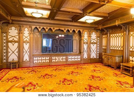 Novi Petrivtsi, Ukraine - May 27, 2015 Mezhigirya residence of ex-president of Ukraine Yanukovich. Modern home theater room interior