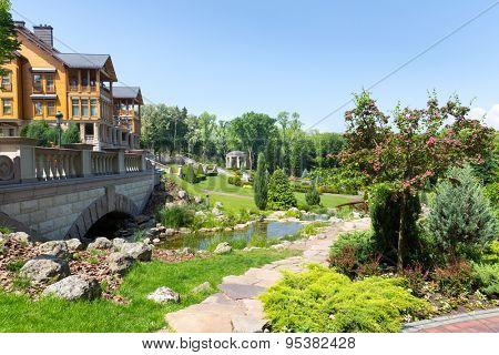 Novi Petrivtsi, Ukraine - May 27, 2015 Mezhigirya residence of ex-president of Ukraine Yanukovich. Green beautiful local park near