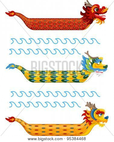 Illustration of Dragon Boats with Varied and Colorful Patterns