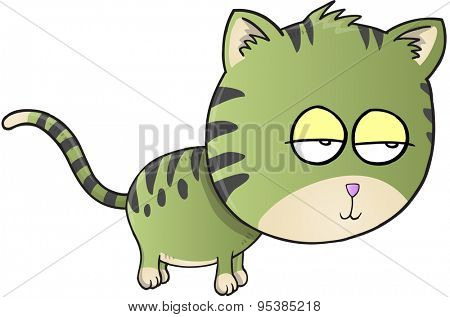 Sleepy Sick Cat Vector Illustration Art