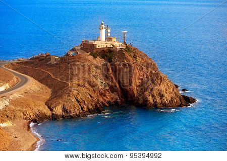 Almeria Cabo de Gata lighthouse aerial in Mediterranean sea of Spain