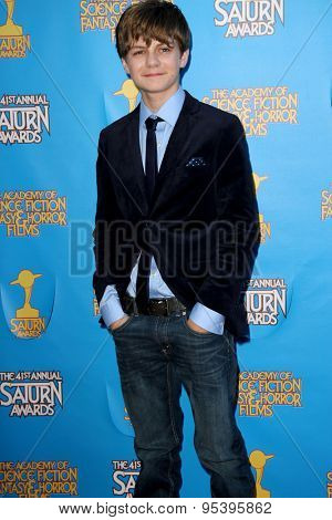 BURBANK - JUNE 25: Ty Simpkins arrives at the 41st Annual Saturn Awards on Thursday, June 25, 2015 at the Castaway Restaurant in Burbank, CA.