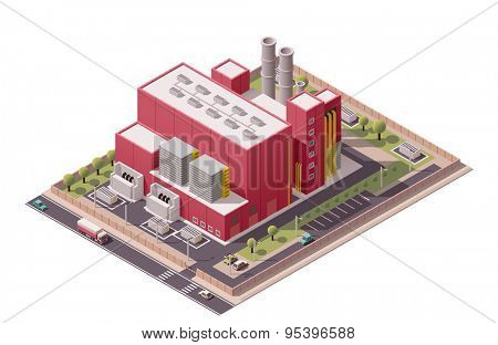 Isometric icon set representing factory with backyard