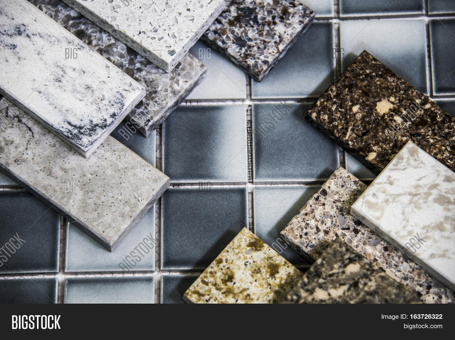 Floor Samples Of A Granite Marble And Ceramic Tiles In Shop