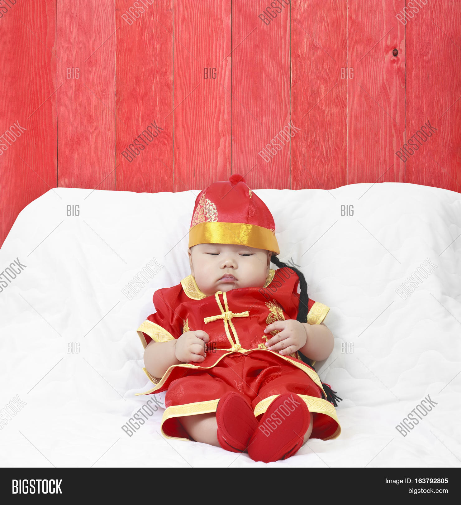 Asian Baby Boy Wearing Red Chinese Image &
