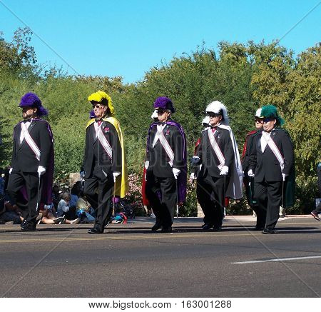 PHOENIX, AZ- NOV 11: Knights of Columbus marching at the Veteran's Day Parade in Phoenix, Arizona on November 11, 2013