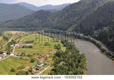 River Vah near Strecno, Slovakia - View from Ruins of Medieval Castle Strecno