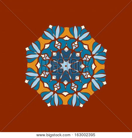 Beautiful Indian floral ornament print. Ethnic Mandala Fabric Pattern. Vector Buddhism style paint for Meditation. Can be used for textile, greeting card background, coloring book, phone case print.