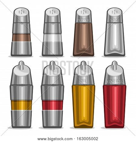 Vector illustration Set glass Shakers for salt and pepper, futuristic metal bottles olive oil and red wine vinegar, high tech decor saltcellar, set containers for condiments, chrome shaker with stamp.