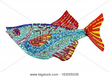 Decorative fish made of colored glass fusing method. Isolated on white
