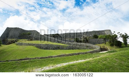 Okinawa Japan - October 23 2016: Katsuren Castle Ruins Scenery The famous castle of tourist attraction in Ryukyu kingdom Okinawa Japan.