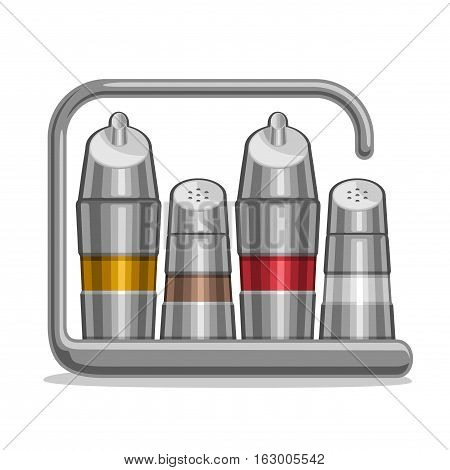 Vector illustration Set metal Shakers for salt and pepper, chrome holder bottles with olive oil and red wine vinegar, steel futuristic set containers for condiments, stainless high tech rack of shaker