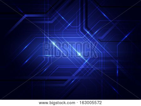 Blue abstract circuit board and lines background