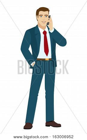 Businessman talking on the phone. Businessman holding hand in pocket. Vector illustration.