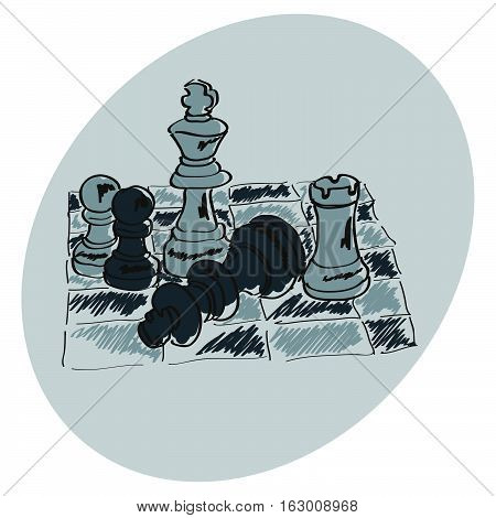 Chess on a chessboard. Blue pattern. Doodle. Hand drawing