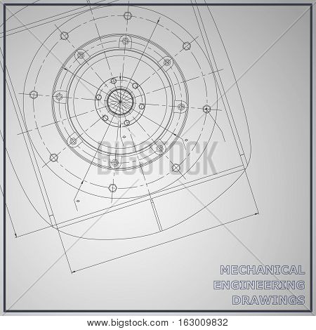 Mechanical engineering drawings. Engineering illustration. Vector background. Corporate Identity. Gray