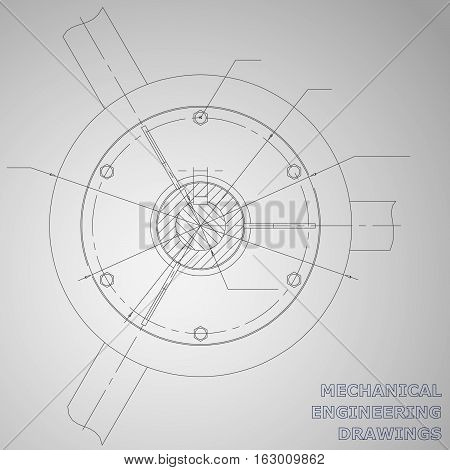 Mechanical engineering drawings. Engineering illustration. Corporate Identity. Gray