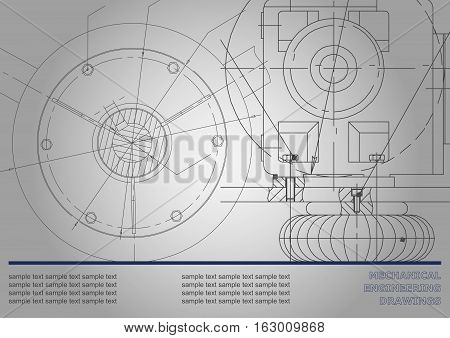 Mechanical engineering drawings on a gray background. Vector. Gray background for inscription. Corporate Identity