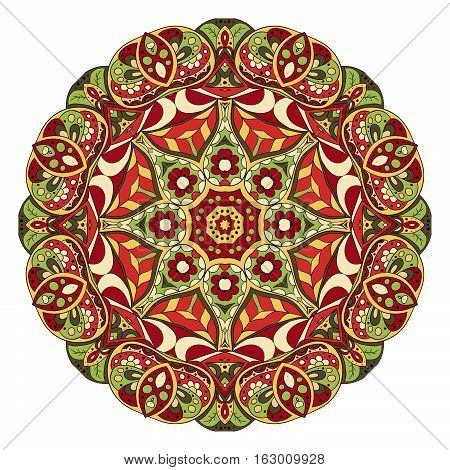 Mandala. Zentangl. Round ornament for creativity. Oriental motifs. Relax meditation. Flower. Red and green tone