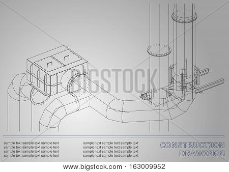 Construction drawings. 3D metal construction. Pipes piping. Cover White background for inscriptions. Corporate Identity. Gray