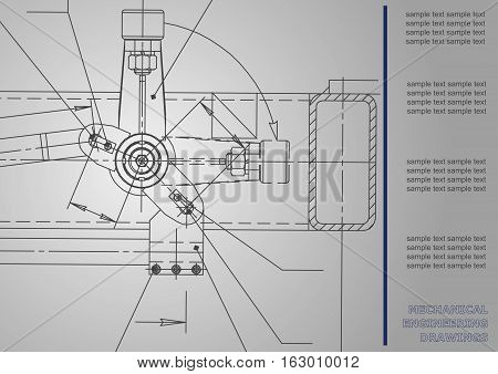 Subject vector background. Mechanical Engineering. Technical illustration. Vector Corporate Identity. Gray