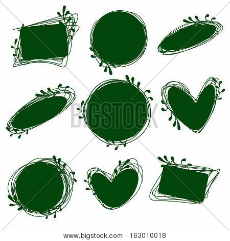Tags set for inscriptions. Labels for organic products. Tags natural dietary useful products. Bio logos. Green labels. Doodle tags