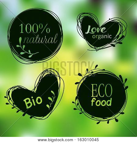 Doodle tags. Organic banners set. Labels for natural products. Vegetarian diet food. Love Organic