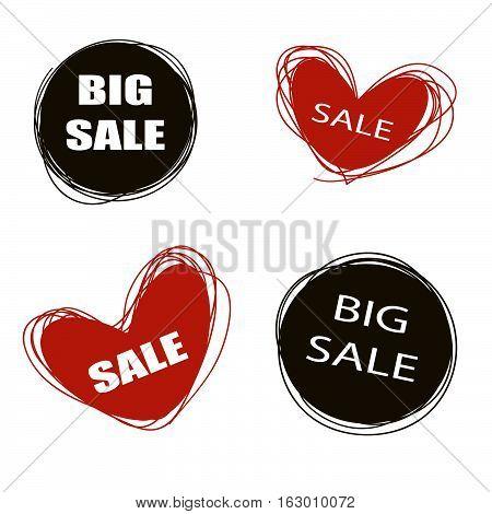 Doodle sale tags. Sale banners set. Love Shopping