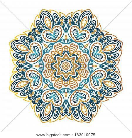 Mandala pattern. Doodle drawing. Round ornament. Color