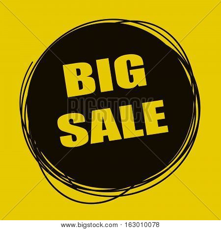 Doodle sale tag. Big Sale banner. Black and yellow
