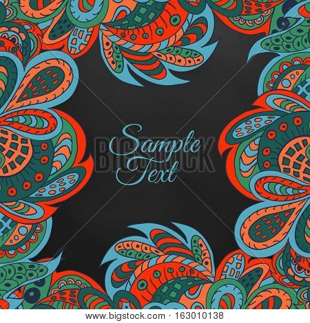 black floral doodle ethnic pattern background. red and marine colors