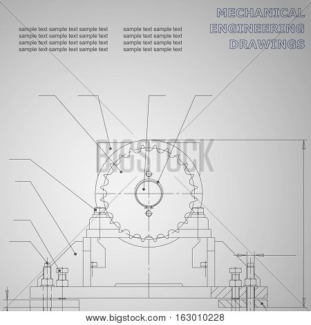 Mechanical engineering drawings on a black background. Vector for inscriptions. Corporate Identity. Gray