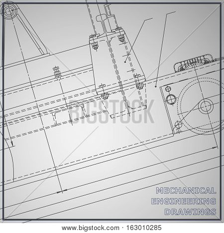 Gray Mechanical engineering drawings. Engineering illustration. Vector gray background. Corporate Identity