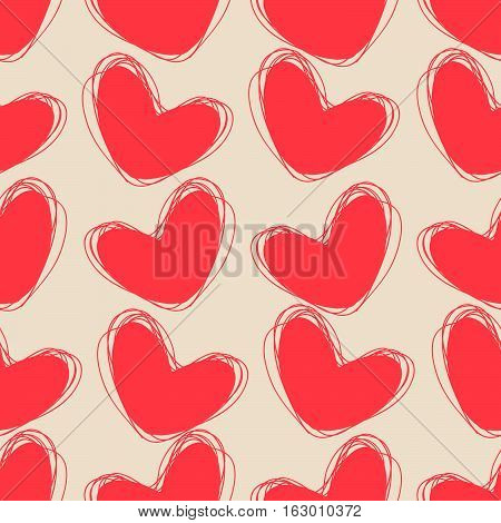 Cute doodle seamless pattern. Heart hand drawings. Background for creativity. Rosy cream colors