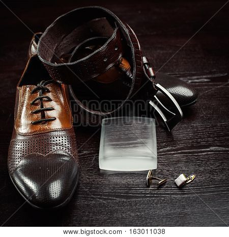 men shoes with perfume. cuff and belt