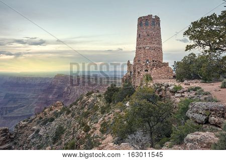 Indian Watchtower at Desert View Point at South Rim Grand canyon