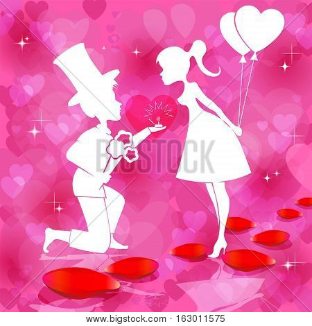 Romantic red background with silhouettes of couples in love, boy with flowers and a wedding ring and girl with balloons