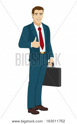 Businessman shows the thumb up. Businessman holding briefcase. Vector illustration.