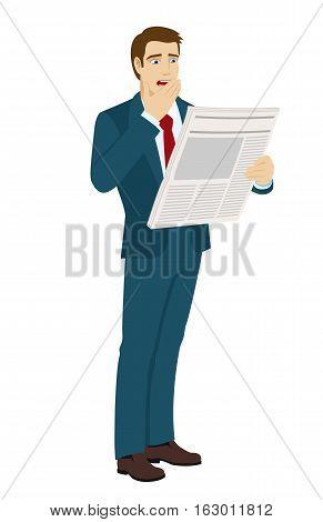 Shocked businessman reading a newspaper. Bad news. Vector illustration.