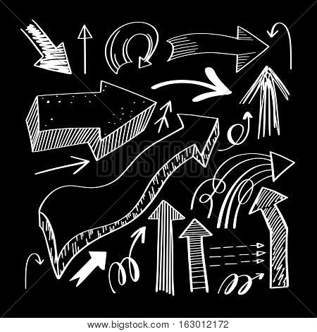 set of hand drawing isolated arrows collection on black background for advertising and business presentations, design elements vector illustration