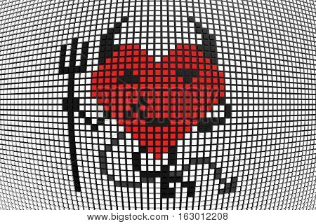 devil heart with horns scoreboard of the boxes 3D illustration