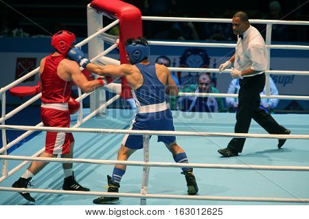 St. Petersburg Russia November 21 2016 Youth World Boxing Championships kick hand to head