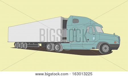 Large truck in vector. White- blue color on yellow background