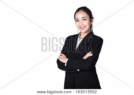 Beautiful young smiling with confident Asian businesswoman isolated on white background