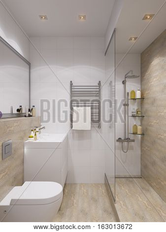 3d illustration of interior design bathroom with a tile woodgrain