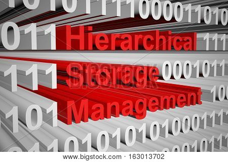 Hierarchical Storage Management in the form of binary code, 3D illustration