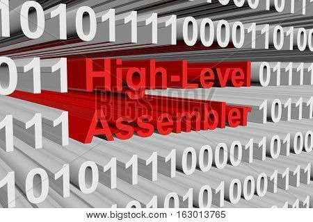 High Level Assembler is presented in the form of binary code 3d illustration