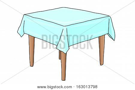 Square table covered with a white tablecloth.