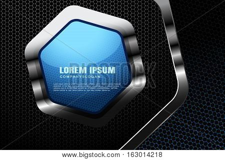 Vector abstract gradient white and blue mesh background with hexagon blue shape in the metal frame.