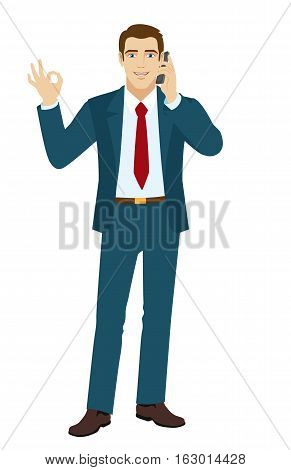 OK! Smiling businessman show a okay hand sign. Businessman talking on the phone. Vector illustration.